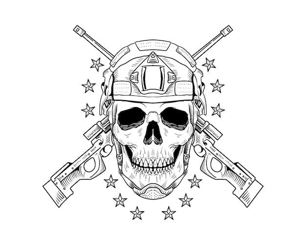 Skull army isolated illustration vintage
