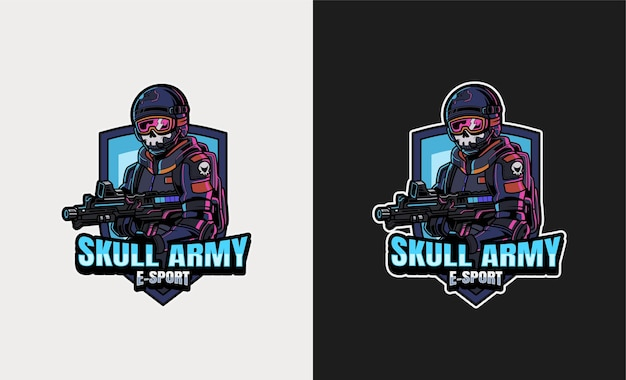 Череп армия премиум талисман киберспорт иллюстрация