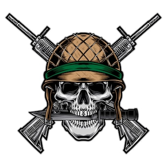 Skull army with rifle vector