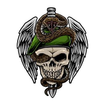 ヘビのイラストが頭蓋骨軍