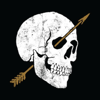 Skull arrow graphic illustration vector art t-shirt design