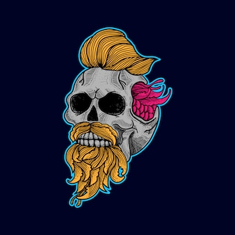 Skull artwork tattoo and t-shirt vector premium