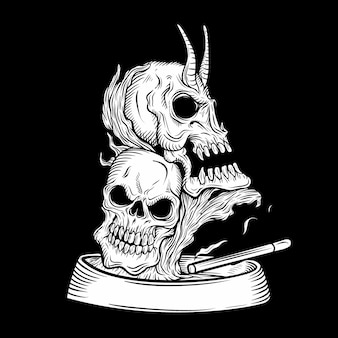 Skull ashtray, hand drawing, isolated