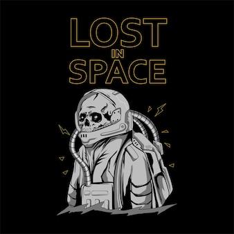 Череп космонавта для дизайна футболки