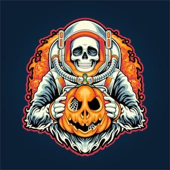Skull astronaut and halloween on space