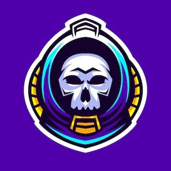 Skull in astronaut helmet vector illustration