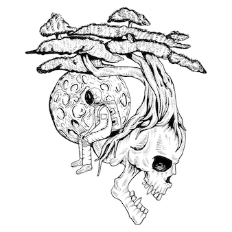 Skull and astronaut trees
