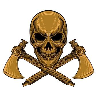 Skull axe vector