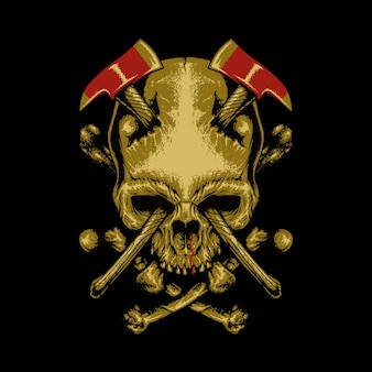 Skull axes horror graphic illustration art tshirt design