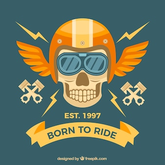 Skull background with golden helmet and wings