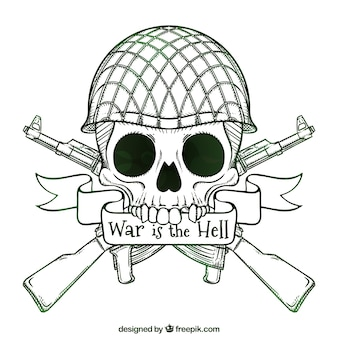 Skull background with hand-drawn soldier helmet