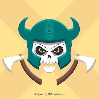 Череп фон со шлемом и осей