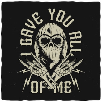 Skull in bandana and hoodie with skeleton hands Premium Vector