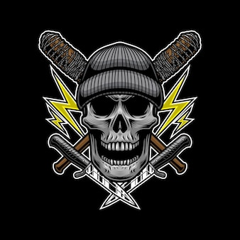 Skull bandit with knife style for t-shirt design