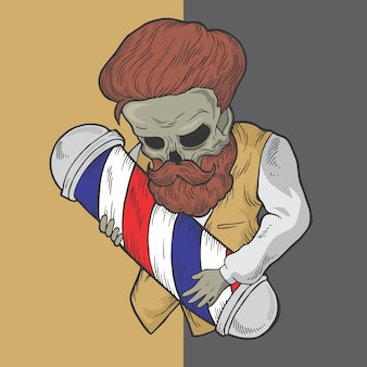 Skull barber hand drawn style vector design illustrations.