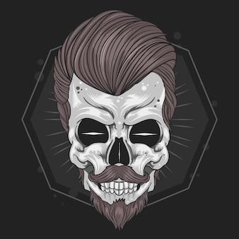 Skull barber mustache vector