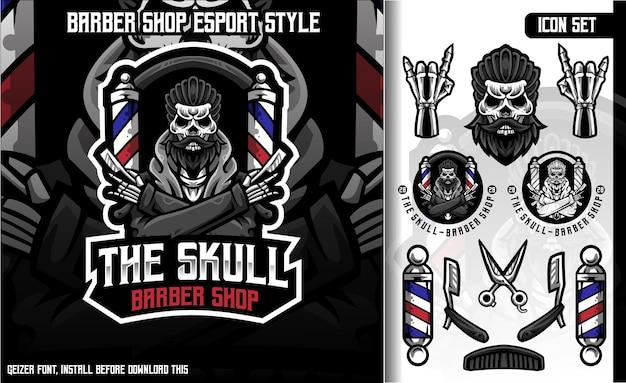 The skull barber shop set mascot logo