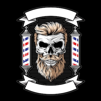 Skull barbershop logo illustration