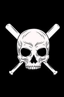 Skull and baseball bat vector illustration