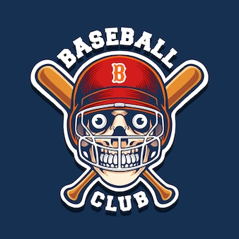 Skull baseball mascot logo