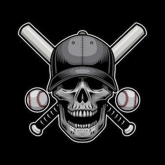 Tシャツデザインのスカル野球スタイル