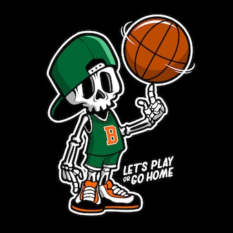 Skull basketball cartoon