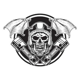 Skull and  bat winged helmet with pistons biker illustration