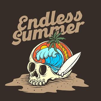 Skull beach graphic illustration