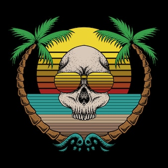 Skull beach retro vector illustration
