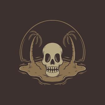 Skull on beach summer tshirt design
