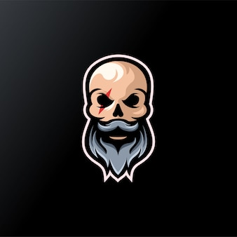 Skull beard logo design ready to use