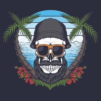 Skull beard mustache beach illustration