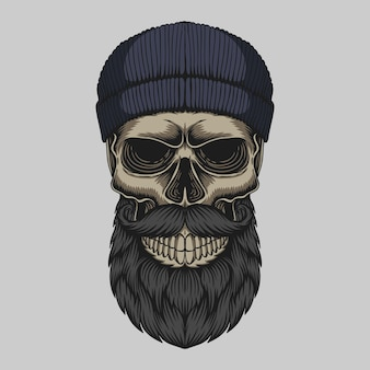 Skull bearded mustache head illustration