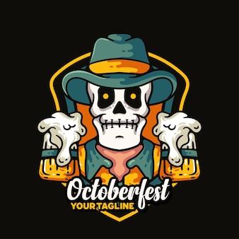 Skull and beer illustration character vintage design