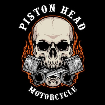 Of skull biker badge logo
