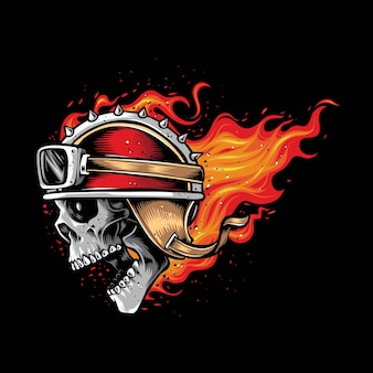 화재 벡터 로고에 해골 바이커 머리
