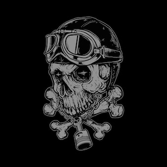 Skull biker horror  illustration