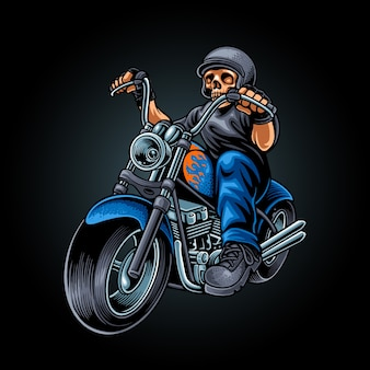 Skull biker illustration