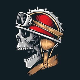 빈티지 헬멧을 쓰고 해골 바이커
