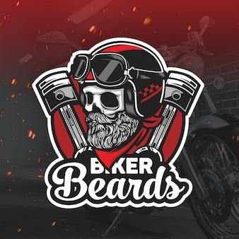 Skull biker with beard mascot logo esport