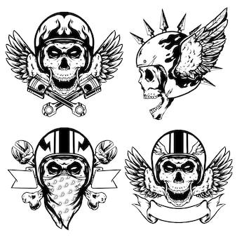 Череп байкер с дизайном шлема