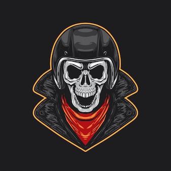 Череп байкер с шлемом