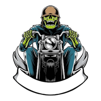 Skull biker with motorbike isolated on white