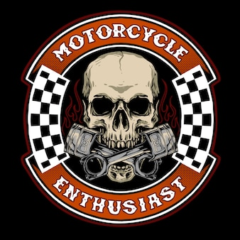 Skull biker with piston suitable for motorcycle base merchandise or logo service garage