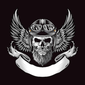 Skull biker with wing