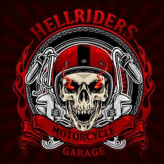 Skull bikers badge vector