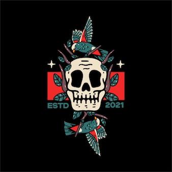Skull and bird illustration for tshirts