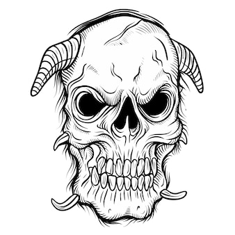Skull on black on white, hand drawing, isolated easy to edit