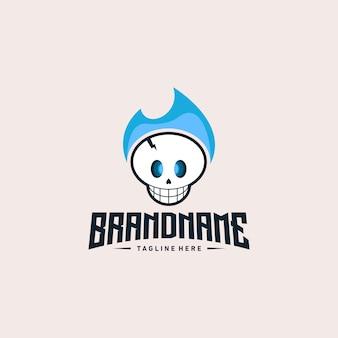 Skull blue logo illustration