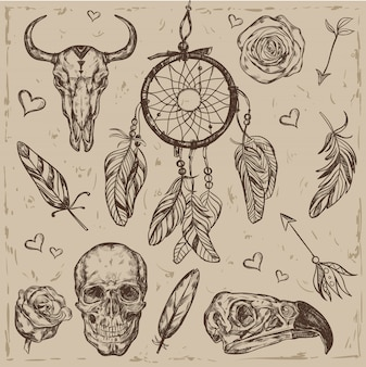 Skull boho illustration set
